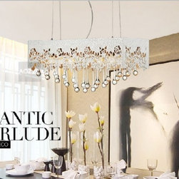 JollyHome - JollyHome Carving Hollow Out Crystal Pendant Lights Rectangle - 220V / Six E27 Bulbs (buy separately).Rectangle crystal chandelier with hollow out carving on.Application:living room, dining room,hall