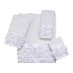 Avanti Linens - Rosie 4 Piece Cotton Towel Set by Avanti Linens - Featuring satin raised fabric ribbons in an allover floral motif, bath towels will be an elegant addition to your bathroom. Coordinating satin cloth enhances the romantic look of these white towels.