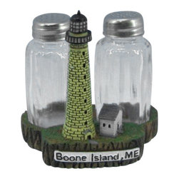"Handcrafted Model Ships - Boone Island Lighthouse Salt and Pepper Shakers 4""- Lighthouse Decor - This Boone Island Lighthouse Salt and Pepper Shakers 4"" is one of the cutest salt and pepper sets available anywhere! This Boone Island Lighthouse Salt and Pepper Shakers 4"" is a definite must for the lighthouse or nautical enthusiast. This lighthouse decoration will surely brighten up your kitchen table, shelves or countertop. Cooks and collectors will delight in owning this fun loving set. See our vast selection of other famous lighthouses from all over the world."
