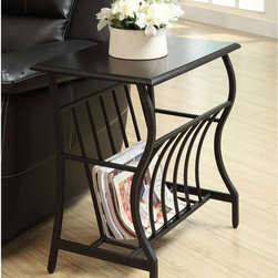 California Modern Chairside Table with Magazine Shelf - Bring a touch of nature into your home with this magazine chairside table from Anthony California.