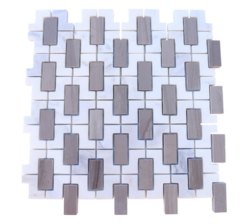 """Trelis Athens Gray and Asian Statuary Marble Tile - Trelis Athens Gray and Asian Statuary Marble Tile This marble mosaic will provide endless design possibilities from contemporary to classic. It creates a great focal point to suit a variety of settings. Chip Size: 1 3/4"""" x 3/4"""" Color: Gray and White Material: Athens Gray and Asian Statuary Finish: Polished Sold by the Sheet- each sheet measures 12""""x12"""" (1 sq.ft.) Thickness: 8 mm"""