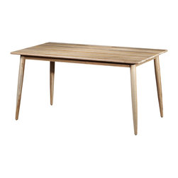 "Artemano - Retro Dining Table Made of Teak Wood , 59"" L X 36"" W X 30"" H - The Retro Table Made of Teak, with its rounded tabletop as well as its simple and straight legs, is inspired by the 1960s. Light and airy, this dining room table is practical and durable.  This table is built with high quality Indonesian teak wood by diligent artisans with love."