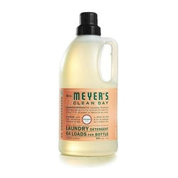 Mrs. Meyer's 2x Laundry Detergent -geranium - Case Of 6 - 64 Oz - Mrs. Meyer's Clean Day Geranium Laundry Detergent liquid is one of our hardest working cleaners. It is concentrated, safe and gentle on clothes-yet it really packs a punch when it comes to removing dirt and grime. Contains Anionic Surfactants from plant-derived sources, Cotton Extract, Borax, dirt and stain-fighting enzymes, and of course, those important natural essential oils for a garden-fresh fragrance. Formulated for all washers including high-efficiency washing machines. Begin your laundry day by sorting clothes and linens. Check for stains and items left in pockets (candy wrappers, lunch tickets, coins, etc.). Next, select the right water temperature. Use HOT water for whites, colorfast pastels and light prints. Use WARM water for permanent press clothes and jeans. COLD water works best for bright colors and fabrics that tend to fade. Then add Laundry Detergent: 1/2 capful for an ordinary load, 3/4 capful for an extra-large or particularly filthy load of clothing. So easy! The formula is made from 97% naturally derived ingredients like lemon clove flower oil and rose flower oil.