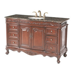 "Stufurhome - 56"" Princeton Single Sink Bathroom Vanity with Baltic Brown Granite Top - 62 Classic double sink vanity"