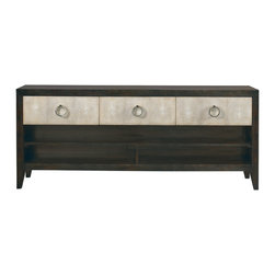 Lillian August - Lillian August Willett Console LA97355-01 - The willett console was designed to be flanked by the breuer etagere or to stand alone. Shagreen drawer fronts, polished silver ring pull hardware and a rich brown wood finish.