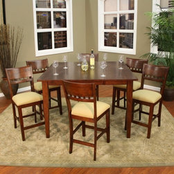 AHB Este 7 Piece Butterfly Counter Height Set with Andria Stools - Extendable and exquisite the Estes 7 pc. Butterfly Counter Height Set with Andria Stools is the ideal collection of dining furnishings for the casual or formal setting. Its contemporary design is the result of expert craftsmanship. The remarkable woodworking here dazzles the eye and feels great to the touch from its tapered legs to its thick top. And all of it even the frame of the six included stools is coated in a beautiful suede finish. Each of these fashionable Andria counter height stools features the same quality solid wood construction along with durable easy-to-clean fabric and webbed seating. This comfortable and captivating collection includes a table 18-inch butterfly leaf and six stools with 24-inch seats and floor glides. Some assembly is required. Each item of entertainment furniture is meticulously designed and engineered to withstand the test of time utilizing old-fashioned wood joinery methods. The vast majority of our metal products have welded joints to provide a lifetime of carefree service.