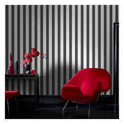 Graham & Brown - Ticking Stripe Wallpaper - A classic striped wallpaper in charcoal and white incorporates our classic Aaron texture. The small scale of this stripe gives it a very traditional feel but can equally be used in a more contemporary setting.