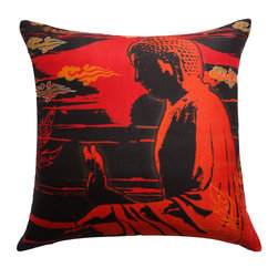 Vintage Maya - Peace Silk Pillow Cover - Pamper yourself on your path to enlightenment with this luxurious silk Buddha pillow cover. Use it to cover throw pillows for your sofa, bedroom or meditation space.