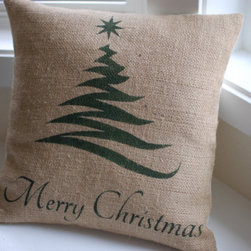 Burlap Pillow Cover with Christmas Tree by LaRae Boutique - A sweet holiday burlap pillow will add that holiday spirit to any room of the house.
