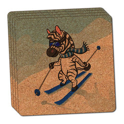 """Made on Terra - Zebra Skiing Thin Cork Coaster Set of 4 - You're just cleaning up after your epic party when you realize it... something's different. Unlike all those other times, you're not mopping up cup condensation from your counters and tables. This time, everyone used a coaster. Everyone. Maybe it's because you handed out a coaster with every glass. No. You've tried that before. No, this time it's because of the actual coasters. You found the cutest Made On Terra printed cork coasters. You love that everyone commented on how unique they were,  from the light-weight, thin cork material to the printing that creates a cool and subtle effect. Plus, they're really absorbent, but dry quickly. And they're made from an eco-friendly, sustainable resource, so that makes you feel pretty great, too. Choose from Made on Terra's many fabulous cork coasters. Measures 4"""" x 4"""" x 1/8"""". Made of thin cork. Super cute and nicely absorbent. Sold in sets of four."""