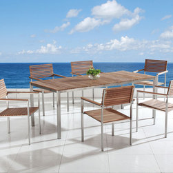 Outdoor Furniture - Modern design outdoor dining table and chairs with teak and stainless steel - Viareggio by Beliani