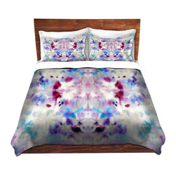 DiaNoche Designs - Duvet Cover Twill - Purple Rorschach - Lightweight and super soft brushed twill Duvet Cover sizes Twin, Queen, King.  This duvet is designed to wash upon arrival for maximum softness.   Each duvet starts by looming the fabric and cutting to the size ordered.  The Image is printed and your Duvet Cover is meticulously sewn together with ties in each corner and a concealed zip closure.  All in the USA!!  Poly top with a Cotton Poly underside.  Dye Sublimation printing permanently adheres the ink to the material for long life and durability. Printed top, cream colored bottom, Machine Washable, Product may vary slightly from image.