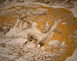 Deer Fabric Gold Toile Nature Woodland Cabin Lodge - A deer fabric. A yellow gold deer toile fabric. If you need a lodge fabric or cabin fabric this is perfect! There is a co-ordinating fabric with feathers floating over a plaid background.