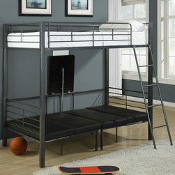 Monarch - Charcoal Grey Metal Twin Bunk Bed with Play-Sit-Sleep Area - Kids everywhere love bunk beds and our set has all-in-one! This original concept has two single beds with multiple metal slates along its contour. Its beautiful charcoal grey color adds a simple yet chic touch. A mobile and secure ladder allow for easy access to the top bunk. The bottom bed can be converted into a sitting area along with a folding table. This is the perfect space to do homework, have fun and sleep!