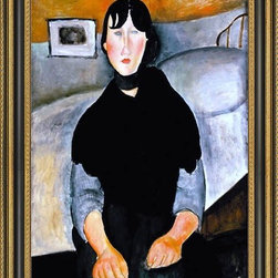 """Art MegaMart - Amedeo Modigliani Young Woman People - 16"""" x 24"""" Amedeo Modigliani Young Woman of the People framed premium canvas print reproduced to meet museum quality standards. Our Museum quality canvas prints are produced using high-precision print technology for a more accurate reproduction printed on high quality canvas with fade-resistant, archival inks. Our progressive business model allows us to offer works of art to you at the best wholesale pricing, significantly less than art gallery prices, affordable to all. This artwork is hand stretched onto wooden stretcher bars, then mounted into our 3 3/4"""" wide gold finish frame with black panel by one of our expert framers. Our framed canvas print comes with hardware, ready to hang on your wall.  We present a comprehensive collection of exceptional canvas art reproductions by Amedeo Modigliani."""