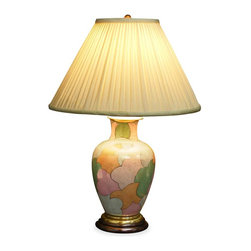 China Furniture and Arts - Japanese Pastel Motif Lamp w/ Shade - Featuring a pattern of overlapping organic shapes, the intriguing interplay of pastel colors is on full display when the lamp is illuminated. Makes a great accent piece in any room setting. A perfect accent to complete any contemporary setting. 75 watt max, bulb not included.