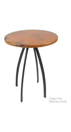"""Mathews & Company - Chanal 36"""" Counter Table with 30"""" Round Top - The 36"""" Chanal Counter Table with 30"""" diameter table top features a modern style wrought iron base that comes in 4 custom finish options and your choice of a Copper, Zinc, Glass, Marble, or Wood table top."""