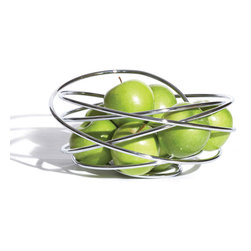 Black and Blum - Fruit Loop Bowl - A hand crafted fruit bowl made from a single piece of free flowing steel wire. It will add a piece of sculpture to any table and is ideal for holding fruit.