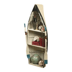 """Authentic Models - Authentic Models Bookshelf And Table - Whether you display this model as a bookshelf or perhaps as a table it will surely be the focal point of your home, office, boat or bar. As a bookshelf, this timeless piece will make an eye catching display for your books, shells, globes or clocks.You can make this boat flat and put its glass cover one to make it for a game table, reading table or coffee table. Just use your imaginations! This includes two oars, glass top and wooden stand. Dimensions: 15"""" H x 21.7"""" W x 50.4"""" D."""