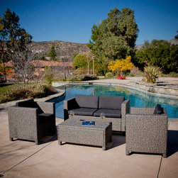 Christopher Knight Home - Christopher Knight Home Puerta Grey Outdoor Wicker Sofa Set - Entertain your guests outdoors while giving them plenty of room and even a place to set their drink or plate. With the included plush cushions,you can chat for hours in the comforts of the outdoors.