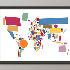 Eclectic Artwork Abstract Map of the World Map, Art Print on Etsy