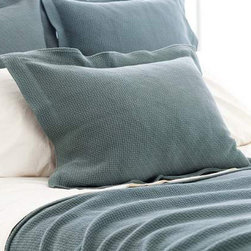 Pine Cone Hill - interlaken matelasse sham (juniper) - Goes-with-anything woven, textured cotton matelasse sham in a range of rich, saturated hues. Features envelope back closure with 2-in. flange.��This item comes in��juniper.��This item size is��euro or std.