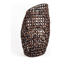 Water Hyacinth Oval Vase, Large - Woven Accents Collection