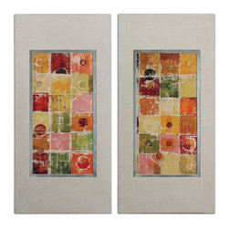 Uttermost - Gypsy Summers Modern Art Set of 2 - A pair of complementary modern artworks under glass, bring an abstract warmth to your humble abode. Framed by nubbly oatmeal linen fabric, the inner frame is champagne silver leaf. Sold as a set, this duo will look best bookended.