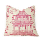 Society Social - Chinoiserie Chic Pillow, Hot Pink - A pagoda done in hot pink gives this pillow a playful element. It's perfect for a kids' room or as decor for an adult who appreciates a little lightheartedness in the home.
