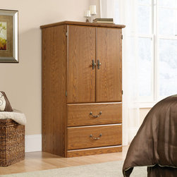 "Sauder - Orchard Hills Armoire - American country style that provides endless versatility in the Orchard Hills Collection. Solid cases are softened by finely detailed moldings and brass-finished hardware, with a warm finish makes this piece the perfect accompaniment to the existing decor of any home. Features: -Two adjustable shelves behind doors.-Two drawers with metal runners and safety stops.-Patented T-lock drawer system.-Made in USA.-Carolina oak finish.-Orchard hills Collection.-Distressed: No.-Powder Coated Finish: No.-Gloss Finish: No.-Frame Material: Engineered wood.-Solid Wood Construction: No.-Non Toxic: Yes.-Drawer Interior Finish: Wood tone.-Soft Close Drawer Glides: Yes.-Ball Bearing Glides: Yes.-Dovetail Joints: No.-Tongue and Groove: No.-Drawer Dividers: No.-Number of Cabinets: 1.-Number of Doors: 2.-Handle Design: Pull knob.-Clothing Rod Included: No.-Media Cable Hole: No.-Media Player Storage: No.-Media Storage: No.-Hidden Storage: No.-Felt Lined Drawers: No.-Wraparound Doors: No.-Mirror Included: No.-Fits Adult Size Hangers: No.-Safety Strap Included: Yes.-Storage Function: Clothing.-Finished Back: No.-Swatch Available: Yes.-Commercial Use: No.-Eco-Friendly: Yes.-Product Care: Wipe with damp cloth.Specifications: -CPSIA or CPSC Compliant: Yes.Dimensions: -Overall Height - Top to Bottom: 54.625"".-Overall Width - Side to Side: 31"".-Overall Depth - Front to Back: 20.875"".-Overall Product Weight: 125 lbs.Assembly: -Assembly required.-Tools Needed: Phillips head screwdriver, hammer.-Additional Parts Required: No.Warranty: -Manufacturer provides 5 year warranty."