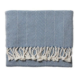 Serena & Lily - Herringbone Throw  Indigo - Woven on antique shuttle looms by artisans at an historic mill in Maine, this sumptuous throw is extra-dense and soft. The hand-turned fringe adds to its luxurious feel, while rich color creates just the right pop.