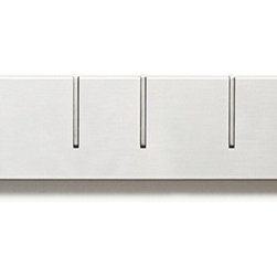 Symbol Coat Rack by Monochrome Desu Design - This simple coat rack has an ingenious design - the hooks stay recessed into the rack unless they are in use.