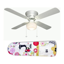 """Sewing Paradise 42"""" Ceiling Fan and Lamp - 42-inch 4-blade ceiling fan with a dome lamp kit that comes with custom blades. It has a white flushmount fan base. It has an energy efficient 3-speed reversible airflow motor for year long comfort. It comes with complete installation/assembly instructions. The blades can be cleaned with a damp cloth. It is made with eco-friendly/non-toxic products. This is brand new and shipped in the original box. This is not a licensed product, but is made with fully licensed products. Note: Fan comes with custom blades only."""