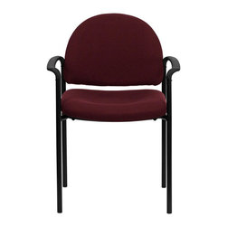 Flash Furniture - Flash Furniture Stackable Side Chair in Burgundy with Arms - Flash Furniture - Stacking Chairs - BT5161BYGG - Complete your office or reception area with this stacking side chair by Flash Furniture. The comfortably padded seat and back are provided to make your guests feel at ease while waiting. The steel frame of this chair is strong enough to last for years of use. [BT-516-1-BY-GG]