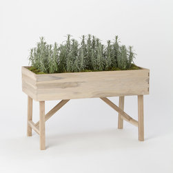 Raised Teak Trough Planter - When I finally finish phase two of my kitchen renovation, I hope to have enough space for a real indoor garden. 'Til then, a girl can dream.
