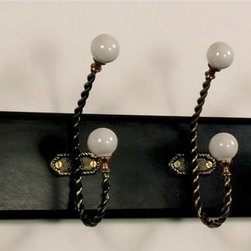 AA Importing - Wall Hanger w 4 Hooks in Antique Black Finish - Antique Black Finish finished wood. Finish can vary and may appear dark brown. 4 Antique Bronze finish metal double hooks each with 2 white plastic knobs. Recessed area in back for hanging. 18 in. L x 6 in. H