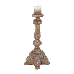 """Benzara - Candle Holder in Stunning Antique Golden Finish - Candle Holder in Stunning Antique Golden Finish. Elegant and stylish, this PS candle holder is a reminiscent of bygone eras. It comes with a following dimensions 8""""W x 8""""D x 22""""H. 5""""W x 5""""H."""