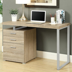 Monarch - Natural Reclaimed-Look Left Or Right Facing 48in.L Desk - This simple yet practical in. hollow-core in. desk is the perfect addition to your home office. The natural reclaimed wood-look finished desk can conveniently be placed on the left or right side offering you multi functionality. The mobile side drawers provide you with space to store office supplies, papers, books, files folders, and plenty more. Use the spacious top for your computer, a lamp and even some pictures. This 48 in. long desk with fit in perfectly into any space.