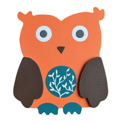 """Little Elephant Company - Boy Owl Quilt Clips set of 2 - Beautiful quilt clips that transform your treasured baby quilts and comforters into charming hanging artwork for your child's room.    Very easy to use.  ***     The set is a pair of hand painted owl quilt clips in a boy color scheme.       The first owl is burnt umber brown with orange wings, teal beak and feet, a white belly with tangerine accents, and eyes in white and dark gray.      The second owl is orange with burnt umber wings, burnt umber beak, turquoise feet, a teal belly with white branches, and eyes in white and dark gray.       These quilt clips are perfect for boy forest or owl themed bedding sets.     Each owl measures 3.25 in. x 3.63 in.    How many quilt clips do I need?  - For a quilt that is still stiff and new, you will only need 2 quilt clips for up to 36 inches wide. Many people will do 3 quilt clips just for the look, though. For a quilt that has been washed and is pliable, 2 clips will be sufficient for up to 36 inches, but you may want 3 clips to help keep the center from sagging. For a quilt 36 to 42 inches wide, use 3 to 4 clips. For a quilt 42 to 50 inches, use 4 to 5 clips.    How do the quilt clips work?  - The only hardware is needed is a long nail, approximately 1 1/2"""" to 2 1/2"""" in length.  - Measure how far apart you would like the clips to be.  - Decide how high on the wall they will be placed and mark your first spot. Using a level, measure out and mark the second spot.  - Place your nails into the wall at a 45 degree angle. IMPORTANT: If your nail is not at a 45 degree angle, the clip may slip off the nail.  - Clip the quilt and slide the back of the clip over the nail.    What are the clips made of?  - Designs are made of layered wood. A few of our designs also have layered felt.   - Clips on the back are a sturdy plastic so as not to damage your fabric."""