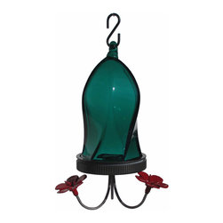 Nature's Way - Twisted Jewel Bottom Fill Teal - The Twisted Jewel Hummingbird Feeders are made of beautiful, hand-blown glass and feature easy fill and clean feeders that have 4 inch wide openings for easier filling and cleaning removable flowers, base, and stainless steel tubes and stopper are easily.