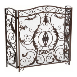 Great Deal Furniture - Mariella Floral Iron Fireplace Screen, Gold Finish - The Mariella Fireplace Screen is beautifully crafted out of iron and highlights ornate design work on the face of the screen. The sophistication of this fireplace screen adds a refined look to any fireplace filled room.