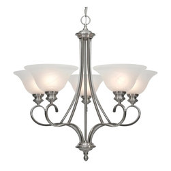 Golden Lighting - Lancaster PW 5-Light Chandelier - Bulbs not included. Requires five 100 watt medium base incandescent type A bulbs. Total wattage: 500W. Electric wire gauge: 18# SPT-1 105°C. Traditional style. Ample square arms represent strong contemporary elegance. Versatile for variety of color schemes. Extra wide marbled glass brightens the setting. UL listing: dry. Five E27 sockets. Made from steel and glass. Pewter color. Chain length: 6 ft.. Wire length: 10 ft.. Shade: 9.5 in. Dia. x 4 in H. Canopy extension: 1 in.. Canopy: 5 in. Dia.. Overall: 28.25 in. W x 28 in. H. Warranty. Assembly InstructionsA chandelier creates a stylish focal point. Comfortably sized for a typical dining room