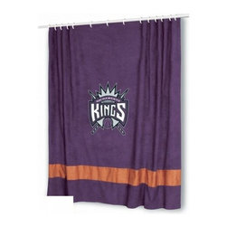 Sports Coverage - NBA Sacramento Kings MVP Shower Curtain - Spruce up your Bathroom and show your NBA spirit with this Sacramento Kings MVP Shower Curtain from Sports Coverage! Featuring a washable micro suede fabric design and a centered team logo, this shower curtain is the perfect for any real fan.   Features:   -  Centered NBA team logo on team colors,    -  Microsuede fabric,    -  Soft leather texture-printed stripe,    -  Officially Licensed,    -  Machine washable,     -  Made in USA,    - 72 H x 72 W,