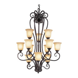 Trans Globe Lighting - 12 Light Chandelier - Add a touch of Louisiana elegance with Victorian mansion candelabra's, island pendants, foyer pendants, and down light chandeliers. Burnished Rust finish with Tea Stain Glass Includes 8' chain for hanging adjustments