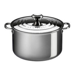 Le Creuset - Le Creuset Stainless Steel Stockpot with Lid - SSP3100-24 - Shop for Stock Pots & Slow Cookers from Hayneedle.com! Great for boiling vegetables making soup and whipping up some gumbo the Le Creuset Stainless Steel Stockpot with Lid comes in your choice of size for your convenience. Crafted from durable tri-ply stainless steel this stock pan has a full aluminum core protected by the rolled sealed and polished rim which heats quickly and evenly as well as a magnetic external layer which is induction-compatible and infused with titanium to resist discoloration. Made up of surgical-grade stainless steel the interior provides a safe and stable cooking surface while the proprietary steel blend of the pan resists pitting and scorching and maintains its luster over time. Featuring an ergonomic handle for easy maneuvering this pan also has a precision-pour rim which allows for clean easy pouring straight from the pan. The included lid helps to keep heat and moisture inside while cooking and keeps your food warm when served at the table. Oven safe up to 500 degrees Fahrenheit this pan is safe for gas electric ceramic halogen and induction stovetops. Additional Features Exterior is infused with titanium to resist discoloration Inside layer made of surgical-grade stainless steel Provides a safe and stable cooking surface Conducts and distributes heat evenly Features a precision-pour rim Allows for clean convenient pouring from pan Ergonomic handles for easy maneuvering Proprietary steel blend resists pitting and scorching Maintains its luster over time Lid keeps heat and moisture inside Oven safe to 500 degrees Fahrenheit Safe for gas electric and ceramic stovetops Also safe on halogen and induction stovetops Dishwasher safe Limited lifetime warranty About Le Creuset of America Inc.From its cast iron cookware to its teakettles and mugs Le Creuset is a global standard of inimitable color and quality. Founded in 1925 in the northern French town of Fresnoy-Le-Grand Le