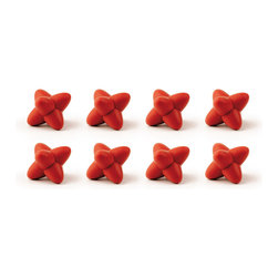 Tovolo Tumble Trivet Set Chili Pepper Red - A fun new way to keep those hot pans off your table or counter! Stain and heat resistant  these Set of 8 trivets are truly space saver while protecting any surface.  Product Features      Heat resistant silicone   Includes convenient storage tin   Space saving design