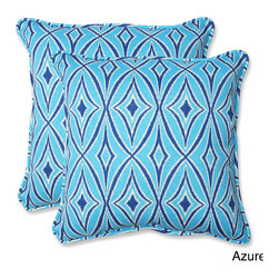 Pillow Perfect - Outdoor Centro 18.5-inch Geometric Throw Pillow (Set of 2) - Relax in style and comfort with the Centro set of weather and UV-resistant outdoor square corded throw pillows. Infused with a geometric pattern,these one of a kind pillows will be a charming and functional extension to your outdoor patio or sunroom.