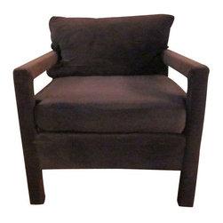 Milo Baughman Style Green Velvet Armchair - $900 Est. Retail - $250 on Chairish. -