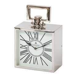 London Clock - Square - This classic style clock will add a unique and sophisticated look to any room.  Available in several sizes with a polished nickel finish and white clock face.