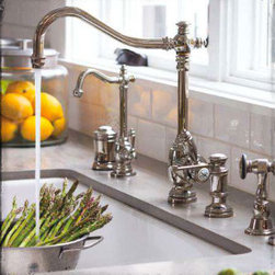 Waterstone Annapolis Kitchen Faucet - The Annapolis Kitchen Faucet - Traditional style kitchen faucet with a decorative hook spout. Faucet can be mounted with handle in front, right or left hand positions. Handle adjusts for clearance from backsplash. Three decorative handle caps included. Available in 31 elegant finishes.